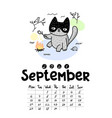 calendar page with cute cat on white background vector image