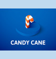 candy cane isometric icon isolated on color vector image vector image
