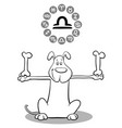 cartoon dog as libra zodiac sign vector image vector image