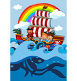 Children on boat with pirate vector image vector image