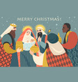christmas card in retro style with three kings vector image