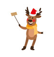 christmas reindeer making selfie by stick vector image vector image