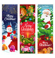 christmas wreath santa and snowman with gifts vector image vector image