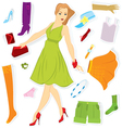 Clothes sticker and girl vector image