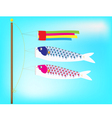 Couple Koi windsock billowing on a pole vector image vector image