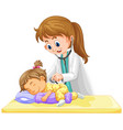 doctor checking up on little toddler girl vector image