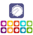 drum icons set flat vector image vector image