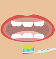 flat brushing teeth toothrush with toothpaste vector image