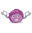 grinning red cabbage character cartoon vector image vector image