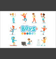 happy boys and their expected normal behavior with vector image vector image