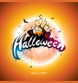 happy halloween with moon flying vector image vector image