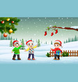happy liitle boy in winter vector image vector image