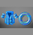 inflatable swim ring life vest armbands vector image
