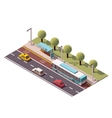 isometric bus stop vector image