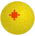 Jigsaw puzzle in the shape of a sphere with one vector image