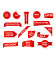 label tags realistic price ribbon tag red market vector image