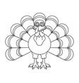 line art black and white thanksgiving turkey vector image