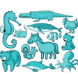 many animals in blue color vector image vector image