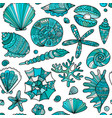 marine seamless pattern ornate seashells for your vector image vector image