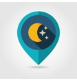 Moon and stars flat pin map icon Weather vector image vector image