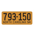 North Carolina 1954 license plate vector image vector image
