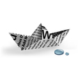 paper ship with water drops vector image