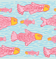 pastel shoal of fish seamless seaweed animal vector image vector image