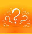 question sign drawing on yellow-orange background vector image vector image