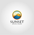 sea sunset - stylish sunset logo with circle vector image
