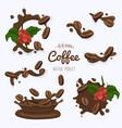 set coffee bins in coffee splash template vector image vector image