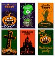 set halloween holiday greeting card merry pumpkin vector image vector image