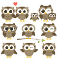Set of cute brown owls