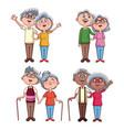 set of grandarents couples cartoons vector image