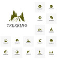 set of outdoor activity symbol logo camping vector image vector image