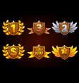 shield set awards or icons objects vector image vector image