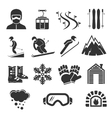 Ski resort sports icons Winter snow skiing sport vector image vector image