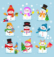 snowman cartoon winter christmas character holiday vector image