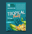 tropical leaf seaweeds and shell banner vector image vector image