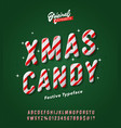 vintage striped christmas candy alphabet vector image vector image