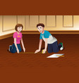 young couple measuring floor vector image vector image