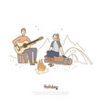 young couple sitting together campfire man vector image vector image