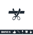 Scissors cutting ribbon icon flat vector image