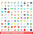100 flight and aviation icons set cartoon style vector image vector image