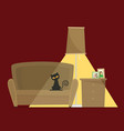 a living room arrangement flat vector image