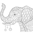 adult coloring bookpage a cute elephant vector image vector image