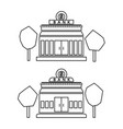 bank building outlined icon set vector image vector image