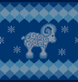 blue knitted background with sheep vector image vector image