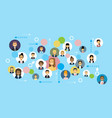 business people icons network communication and vector image