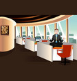 businessman meditating in the office vector image vector image