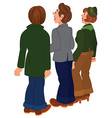 Cartoon people standing and looking on something vector image vector image